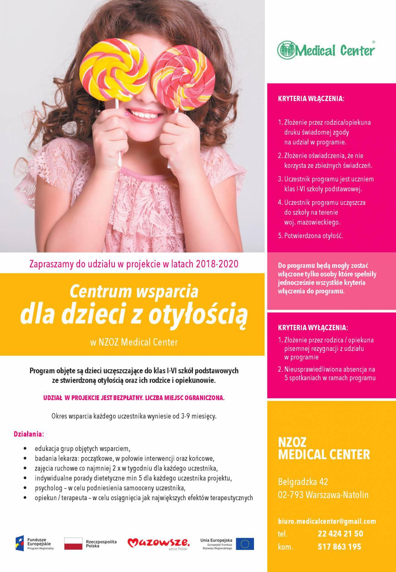 Projekt Centrum wsparcia dla dzieci z otyłością.