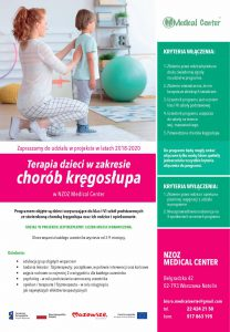 Projekt Terapia dzieci w zakresie chorób kręgosłupa w NZOZ Medical Center